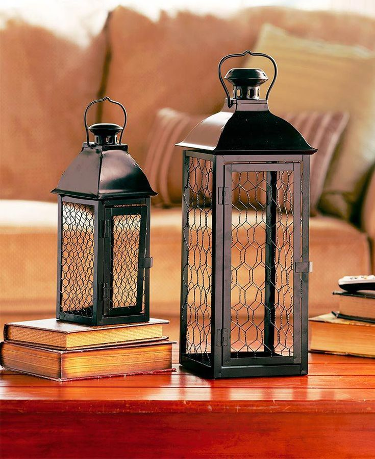 Set of 2 Chicken Wire Lanterns lanternsdecorlivingroom