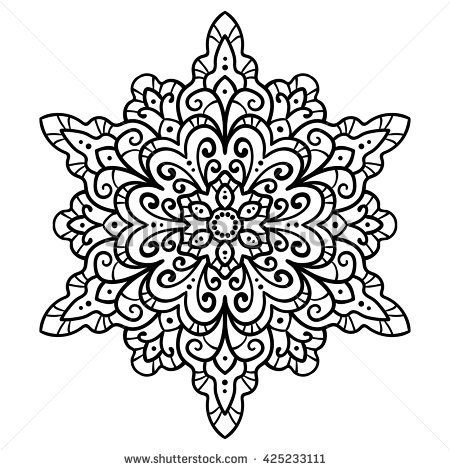 Vector Illustration Outline Mandala Abstract Floral Ornament Element For Design