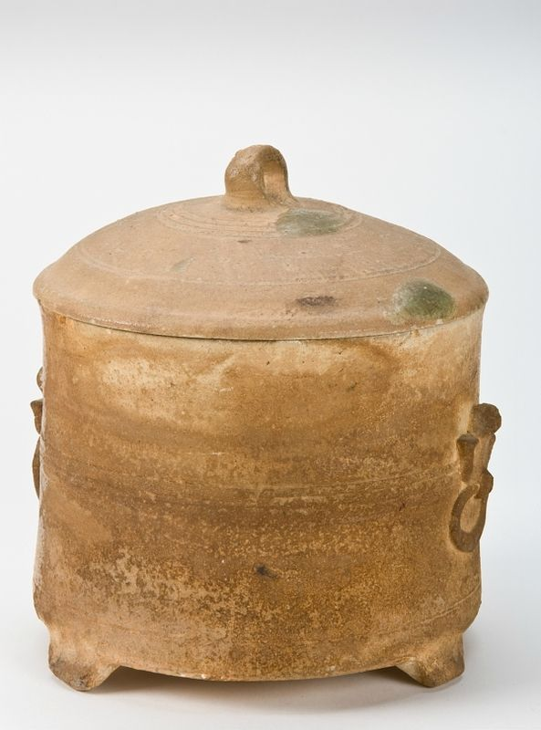 Tripod vessel with lid, Vietnam, Hán Việt period, 2nd-3rd century. Unglazed stoneware with drops of ash glaze. H x Diam (overall): 17.5 x 15.6 cm (6 7/8 x 6 1/8 in). The Dr. Paul Singer Collection of Chinese Art of the Arthur M. Sackler Gallery, Smithsonian Institution; a joint gift of the Arthur M. Sackler Foundation, Paul Singer, the AMS Foundation for the Arts, Sciences, and Humanities, and the Children of Arthur M. Sackler, Arthur M. Sackler Gallery, RLS1997.48.1749a-b © 2017…