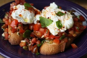 Bruschetta with Fried Egg (Saturday Morning Breakfasts) #Putaneggonit