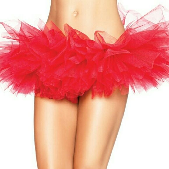 Organza Tutu Organza Tutu Skirt Red 100% Nylon One Size (Fits 90-160 lbs) FLAWLESS UNWORN NEW  Fun, flirty, fire engine red tutu.  Looks super sexy paired with red fishnets.  Great for Valentine's Day;) Skirts Mini