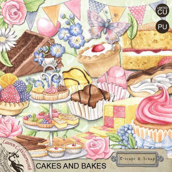 Hand-painted digital kit - Cakes and Bakes By Lauren C. Waterworth