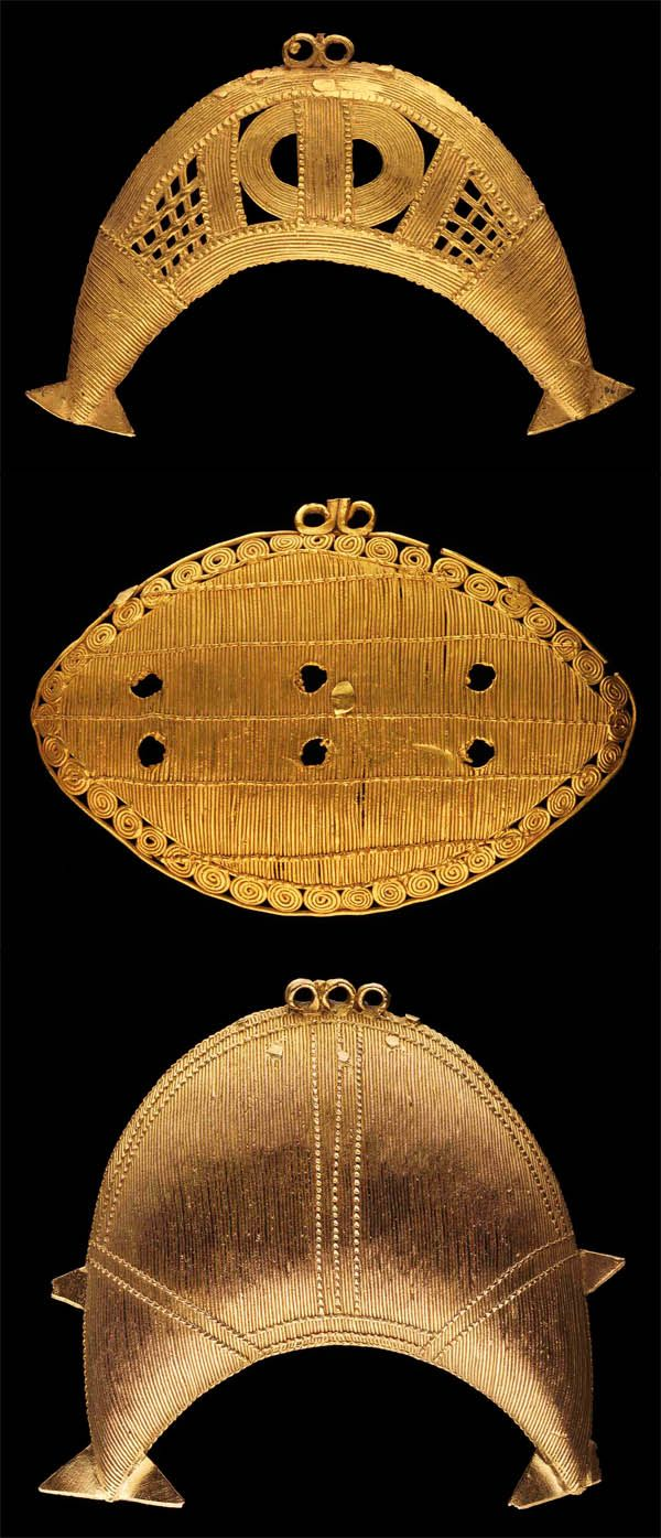 Africa | Pendants from the Akan people of the Ivory Coast || Top) W. 8.2cm.  10k gold. 4,800CHF ~ Sold.  Middle) W. 9 cms. 7k gold.  Est. 2,000 - 3,000CHF.  Bottom). H. 8 cms.  5k gold.  Est. 4,000 - 6,000CHF