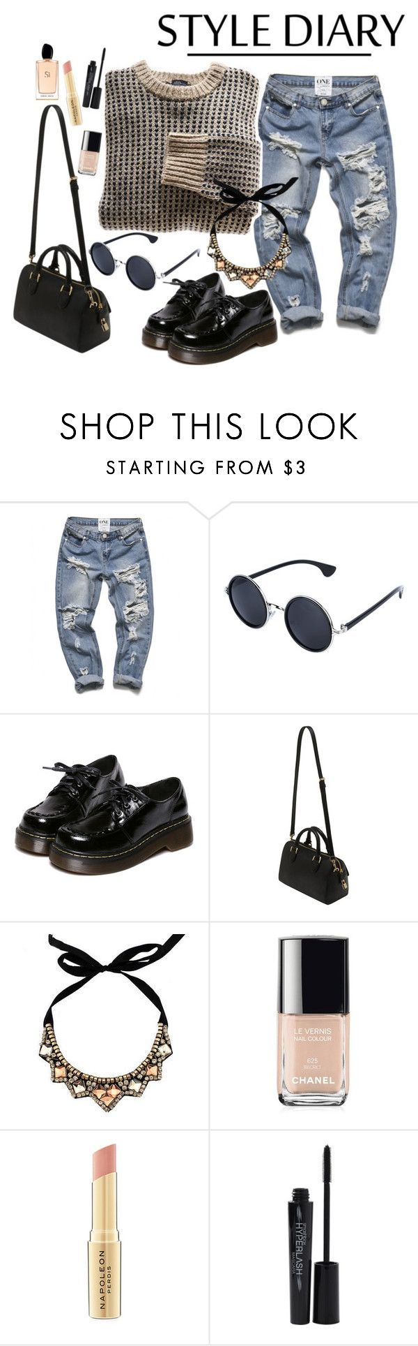 """street style"" by camilazeballo on Polyvore featuring moda, WithChic, Mulberry, Chanel, Napoleon Perdis, Smashbox y Giorgio Armani"