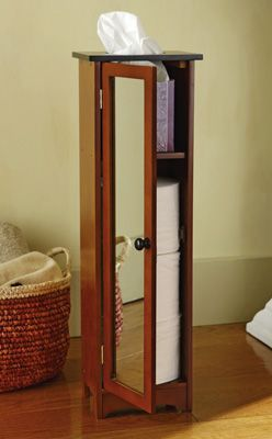 Superior Mirrored Toilet Paper Storage Tower With Tissue Top
