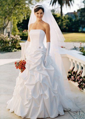 David's Bridal offer the best David's Bridal Wedding Dress: Satin pick-up ballgown with corset bodice and brooch detail. Style T9104, White, 6.
