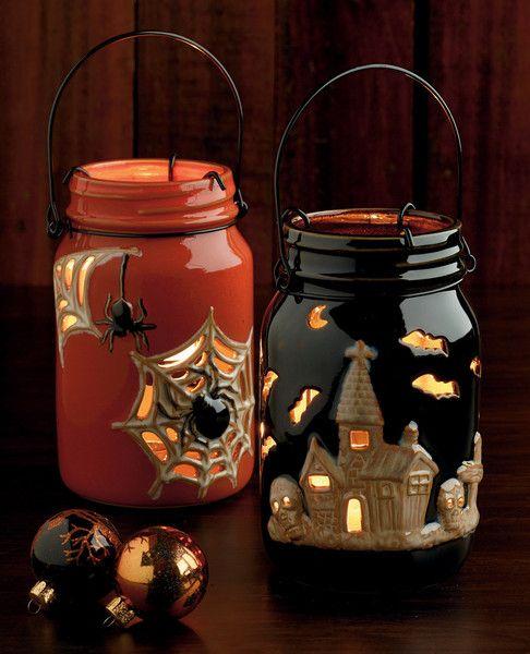 Halloween Jar Lanterns, Orange and Black || Halloween Gifts & Decor by Design Imports: http://www.designimports.com/