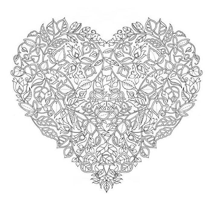 Hard Floral Zentangle Heart Art Coloring Pages