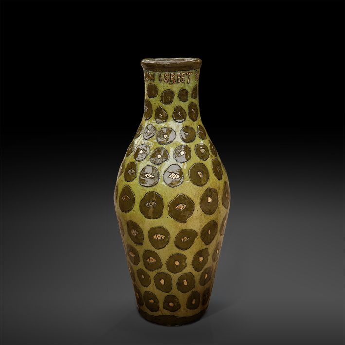 An original vase by Lucinda Mudge entitled: I Now Greet You From The Other Side, ceramic / gold luster, h 53cm For more please visit www.finearts.co.za