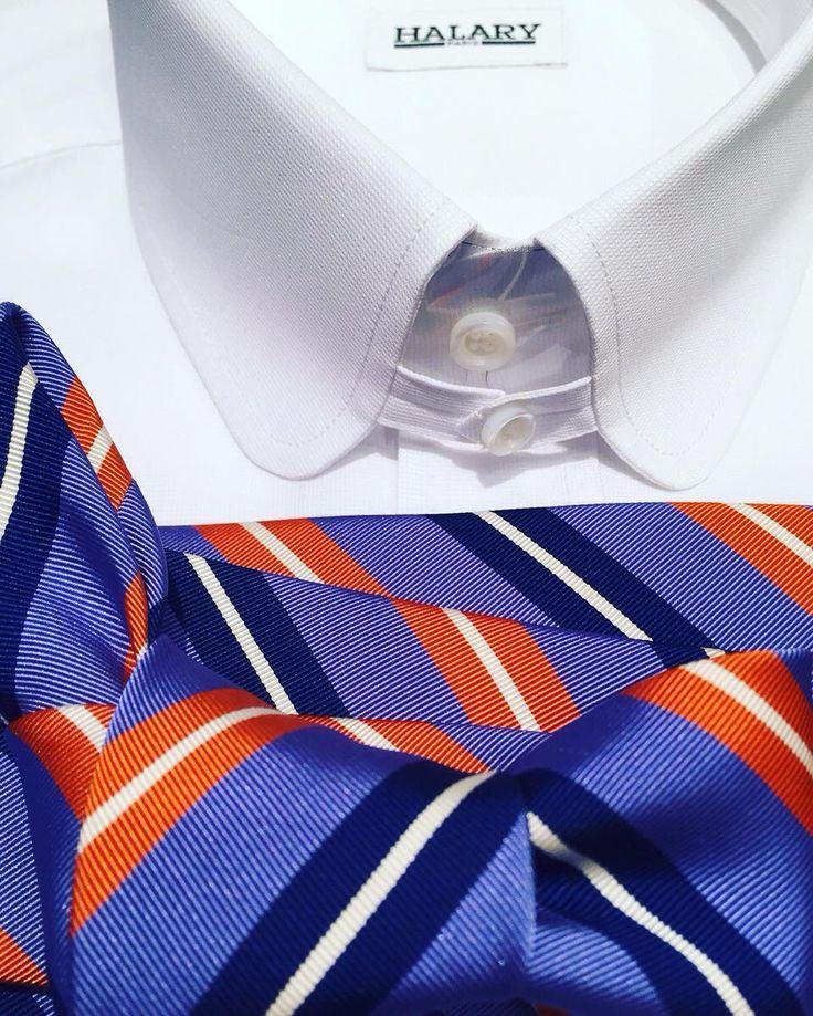 Léger piqué de coton cravate gros Reps. Bon week-end de Pentecôte !  #cotton #shirt #colAnglais #pointesarrondies #weekend #Pentecôte #WhitMonday #casualwear #PutYourTieOn #tie #familytime #famille #lovely #bleu #colors #orange #classymen #menswear #dapper #dapperman #Clarendon #InstaCool #parisianstyle #Paris #Halary #shirtmaker #madetomeasure by halarychemisier