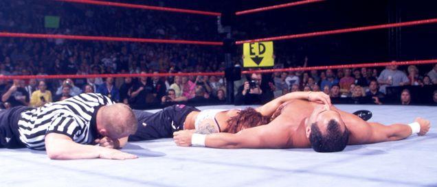 Feb. 19, 2001 - Matt and Lita's love reveal after Matt attacked Dean Malenko with a chair, helping Lita defeat him on Raw.