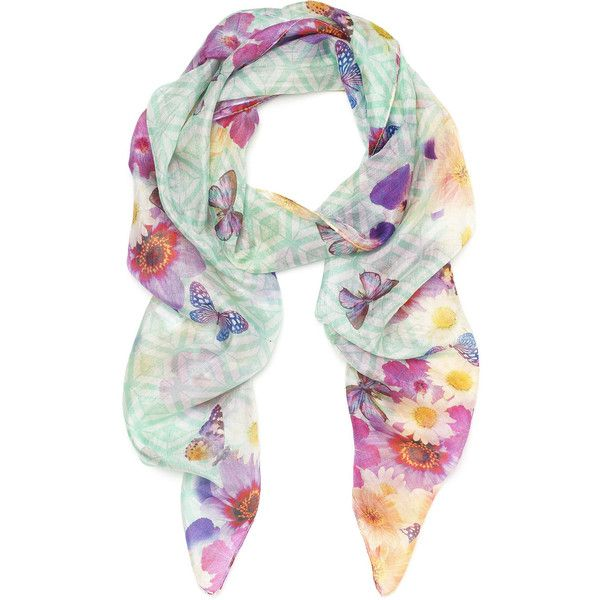 Accessorize Bloom & Geo Digital Silk Classic ($11) ❤ liked on Polyvore featuring accessories, scarves, lenços, pastel, pure silk scarves, summer scarves, silk shawl, bright shawl and summer shawl