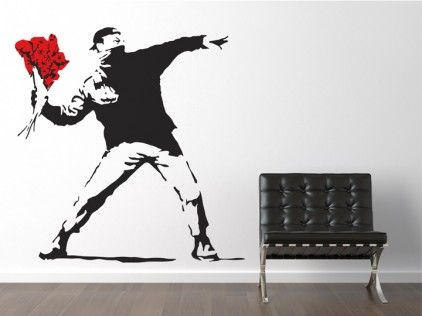 Banksy Style Throwing Flowers Wall Stickers: HAHA