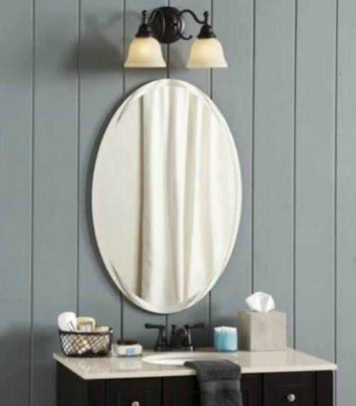 Large Frameless Oval Wall Mirror Vanity BathroomMirror