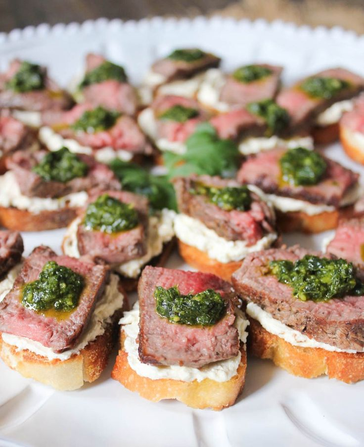 Beef Tenderloin Crostini with Whipped Goat Cheese and PestoStacy Murr