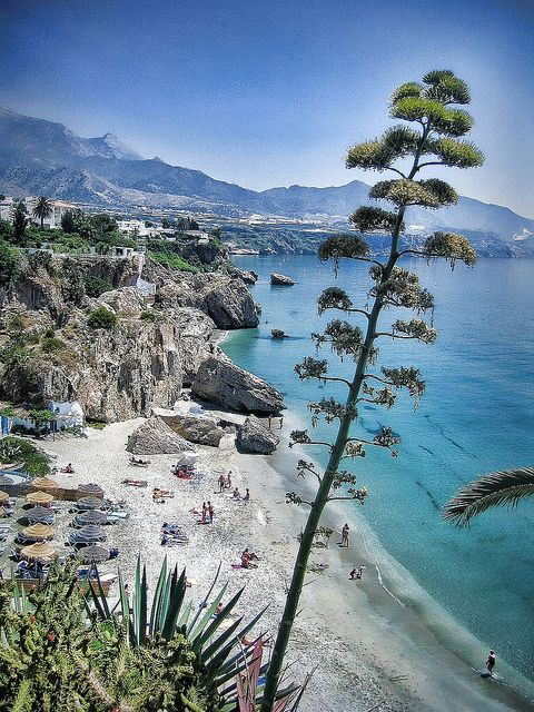 Nerja, Andalucia - view from Balcón de Europa  One of the nicest beaches I've ever been too