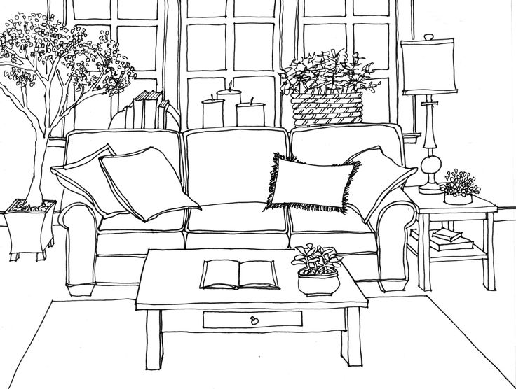 62 best interior line drawings images on pinterest for Simple drawing room interior design