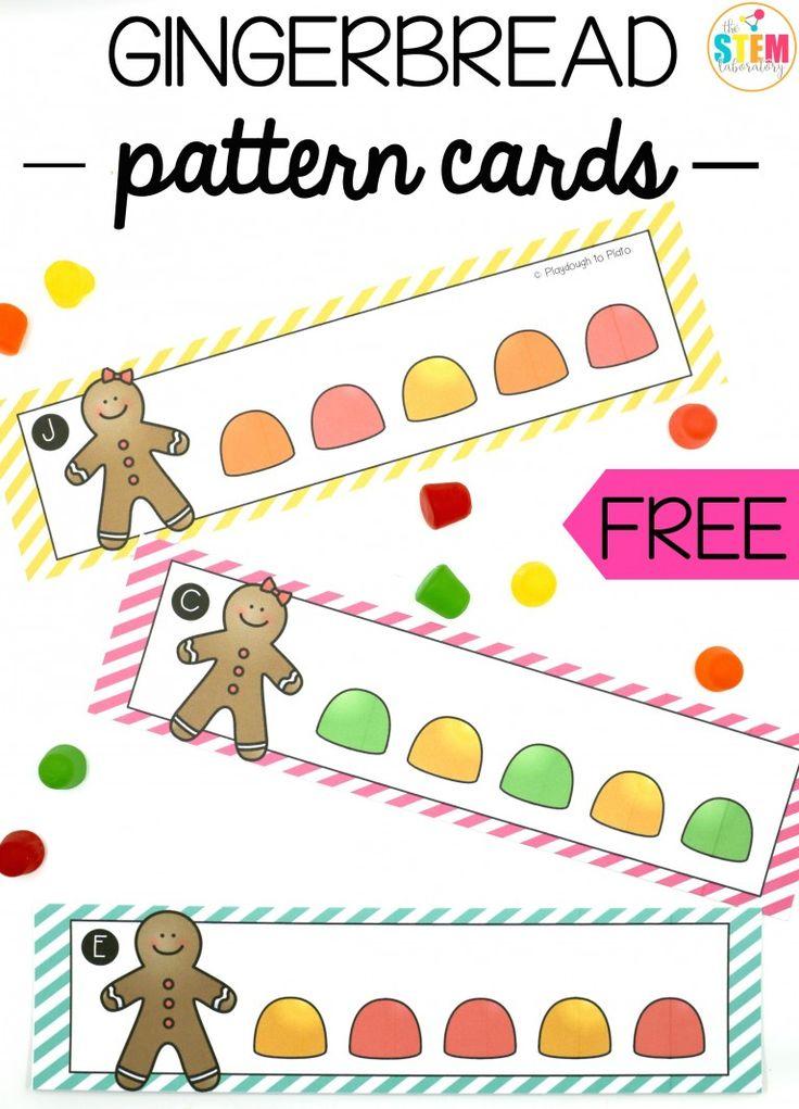 Free gingerbread pattern cards. Fun math center for preschool, kindergarten or first grade.