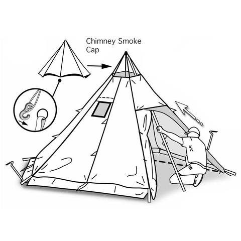 Megahorn Tipi with Wood Stove Jack (4P) Hot Tent   Unique