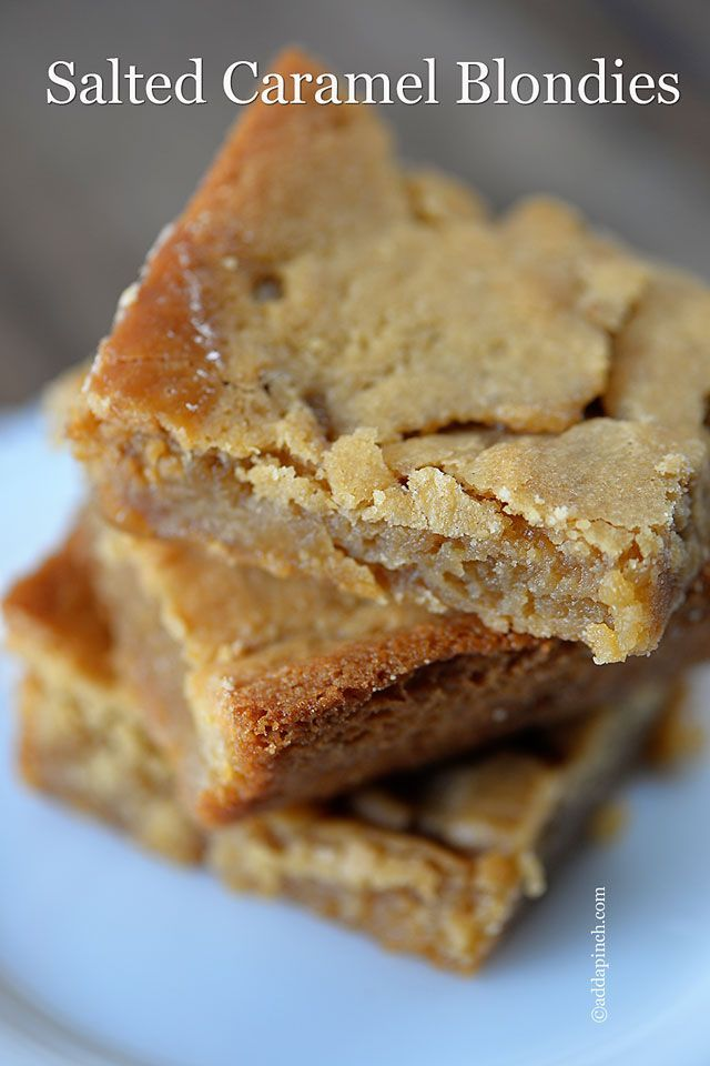 Salted Caramel Blondies Recipe - Cooking | Add a Pinch | Robyn Stone @addapinch | Robyn Stone | Robyn Stone