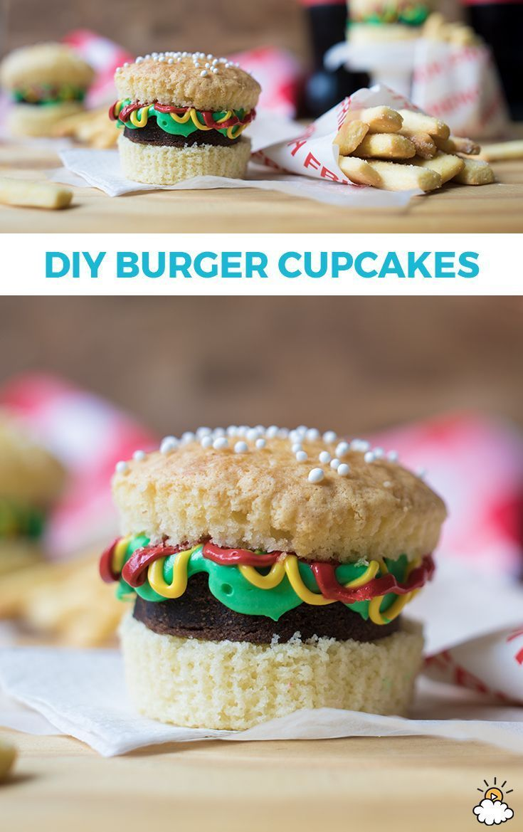"""If you're looking for a creative twist on a classic #dessert, look no further! These #burger #cupcakes combine #brownies and frosting to create the sweetest """"burger"""" you'll ever taste. They are easy to make, and the whole family can join in the activity!"""