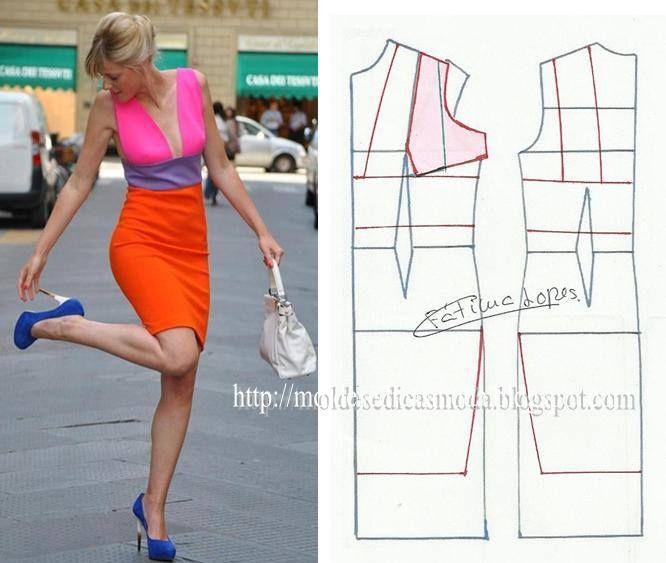 elegant colour block dress pattern
