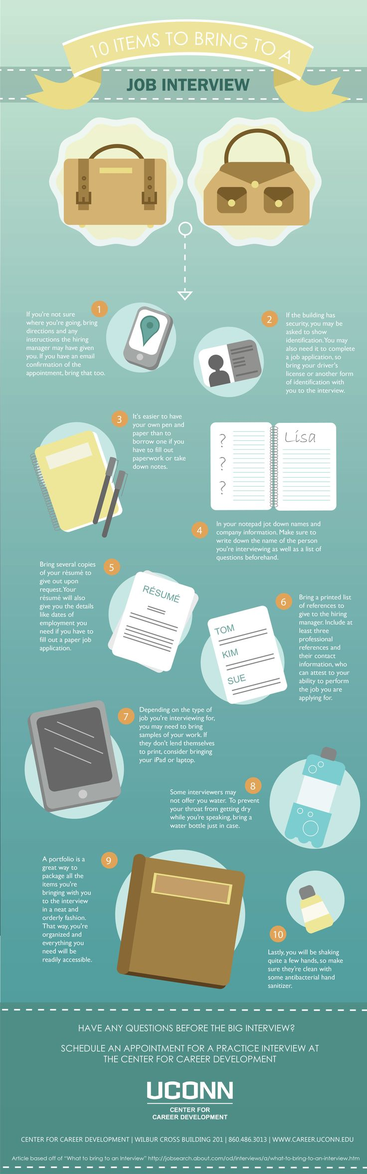 Infographic Infographic : 10 Items To Bring To A Job Interview. Image  Description Infographic : 10 Items To Bring To A Job Interview