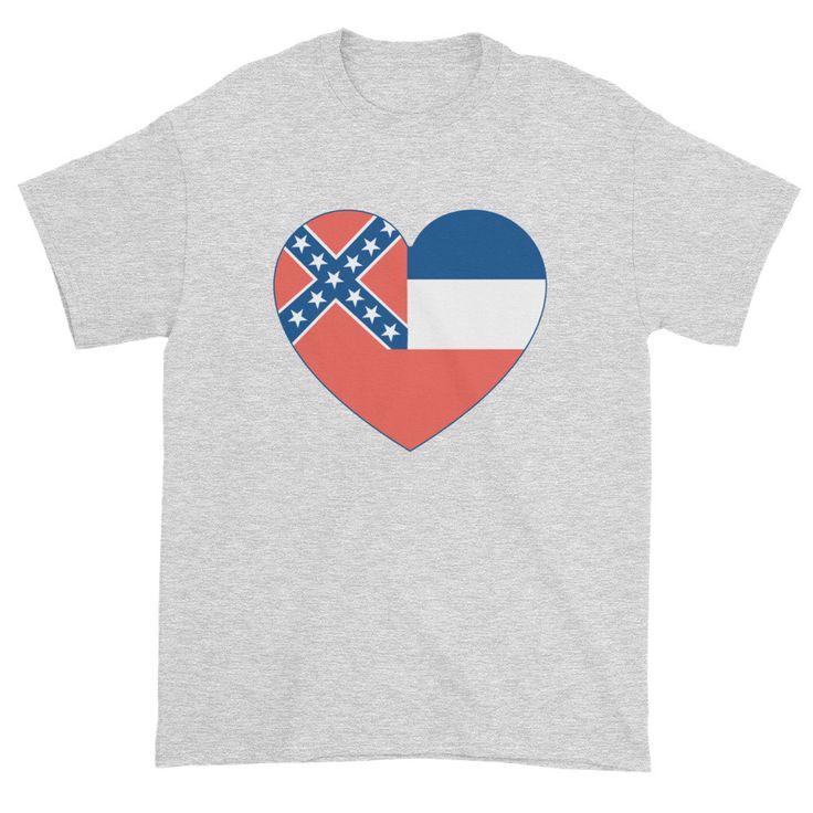 MISSISSIPPI FLAG HEART - Mens/Unisex short sleeve t-shirt