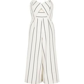 River Island White stripe bandeau culotte jumpsuit (155 BRL) ❤ liked on Polyvore featuring jumpsuits, dresses, playsuit, romper, bodysuit, white, rompers/ jumpsuits, sale, women and striped jumpsuit