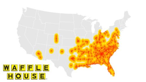 Distribution of Waffle Houses in the US.   There are about 2,100 Waffle House locations throughout the United States throughout 25 states, mostly in the Southeast region.