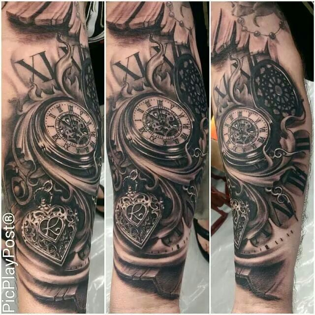 Tattooed heart locket and pocket watch
