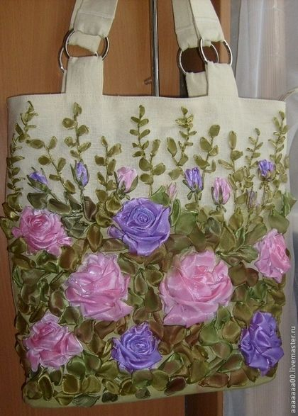Handbag with roses #ribbonEmbroidery