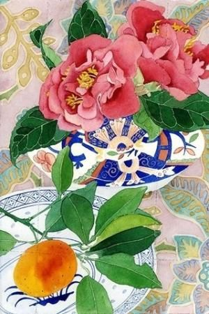 Camelias and mandarin: Gabby Malpas watercolour C6 greeting card and envelope by Mango Frooty by marcy