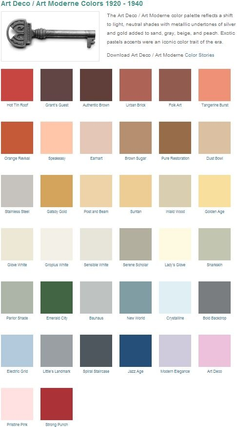 The Art Deco / Art Moderne color palette reflects a shift to light, neutral  shades with metallic undertones of silver and gold added to sand, gray,  beige, ...