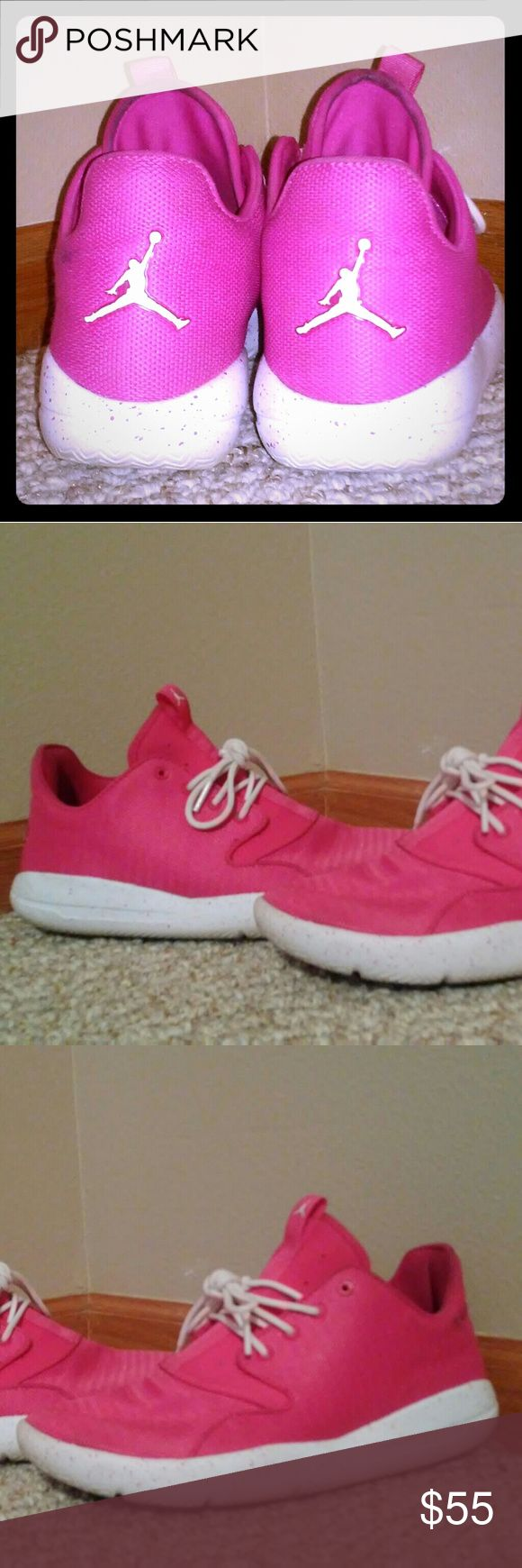 Pink & White Jordans! Very good condition. Barely worn. Will cleaned them up when they are bought. These are in youth size. Let me know if you have any questions. Jordan Shoes Athletic Shoes