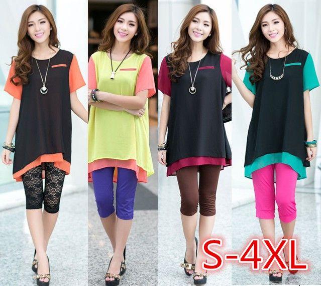 women loose blouses 2014 woman big size tops summer short sleeve female plus size chiffon blouse candy color(E-wear)