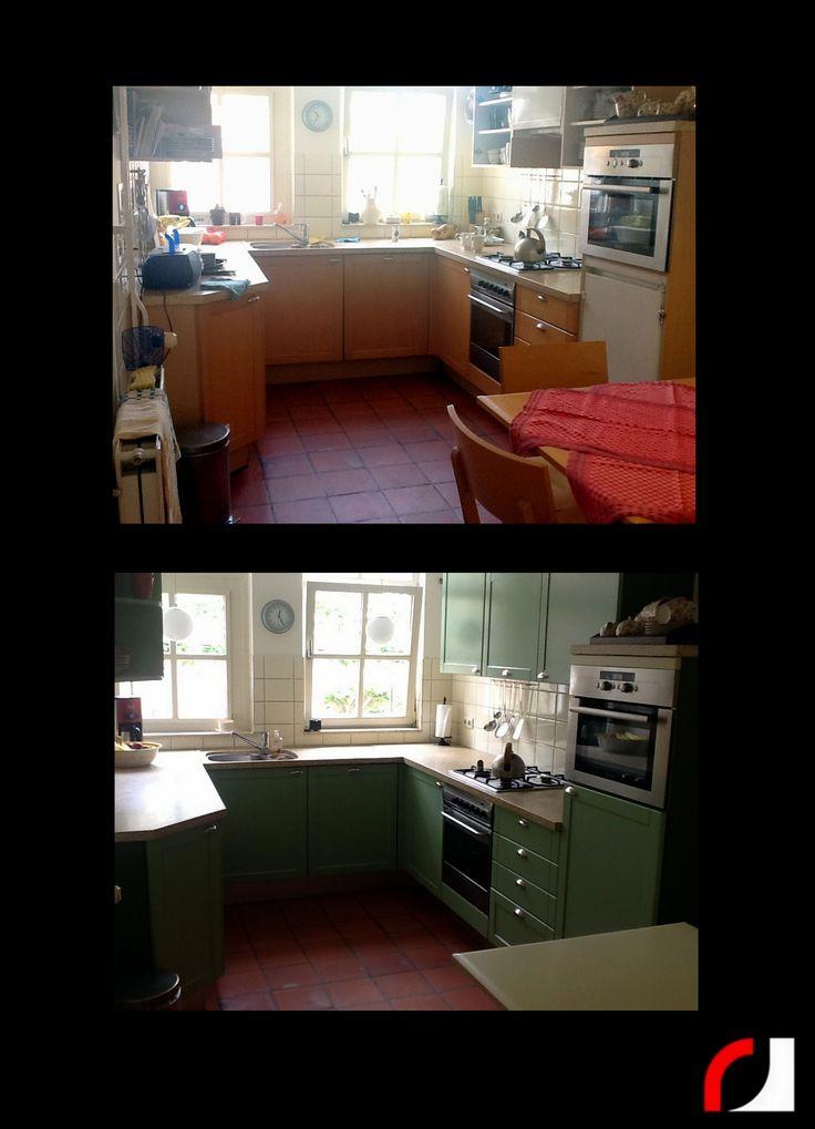 Keuken Groen Verven : Houten keuken in zacht groen gespoten. Een vertrouwde keuken een
