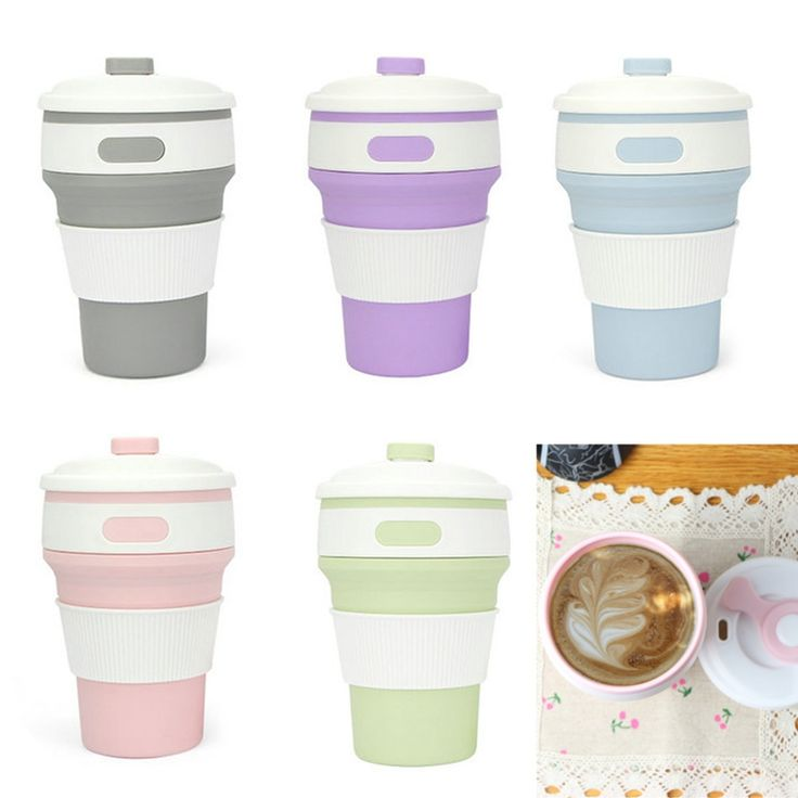 Folding Silicone Water Cup Travel Hiking Picnic Cup 350 ML Portable 4 Color Coffee Tea Cup Collapsible Stylish Outdoor Drinkware #Affiliate