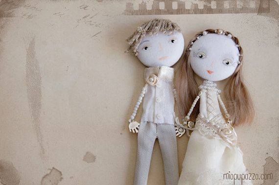 Custom Wedding Portraits Personalized Art Dolls by miopupazzo, $65.00