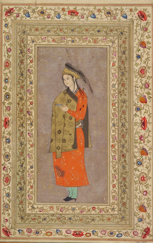 A Youth Standing ca. 1630-1640  Opaque watercolor and gold on paper mounted on an album page H: 29.6 W: 19.3 cm Isfahan, Iran
