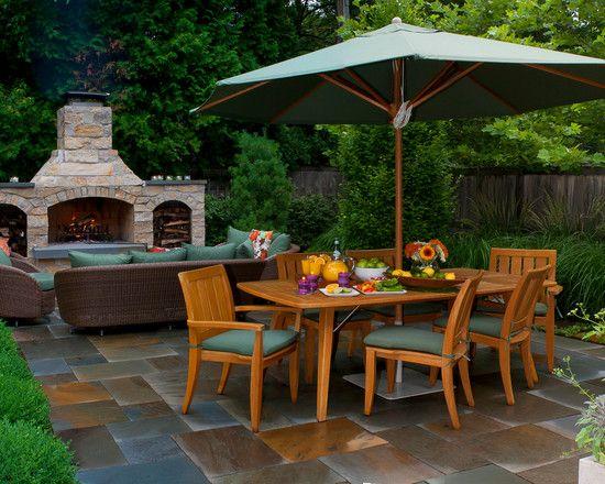: Contemporary Patio With Interesing Outdoor Patio Floor Tiles Also Wooden Outdoor Dining Set With Umbrella
