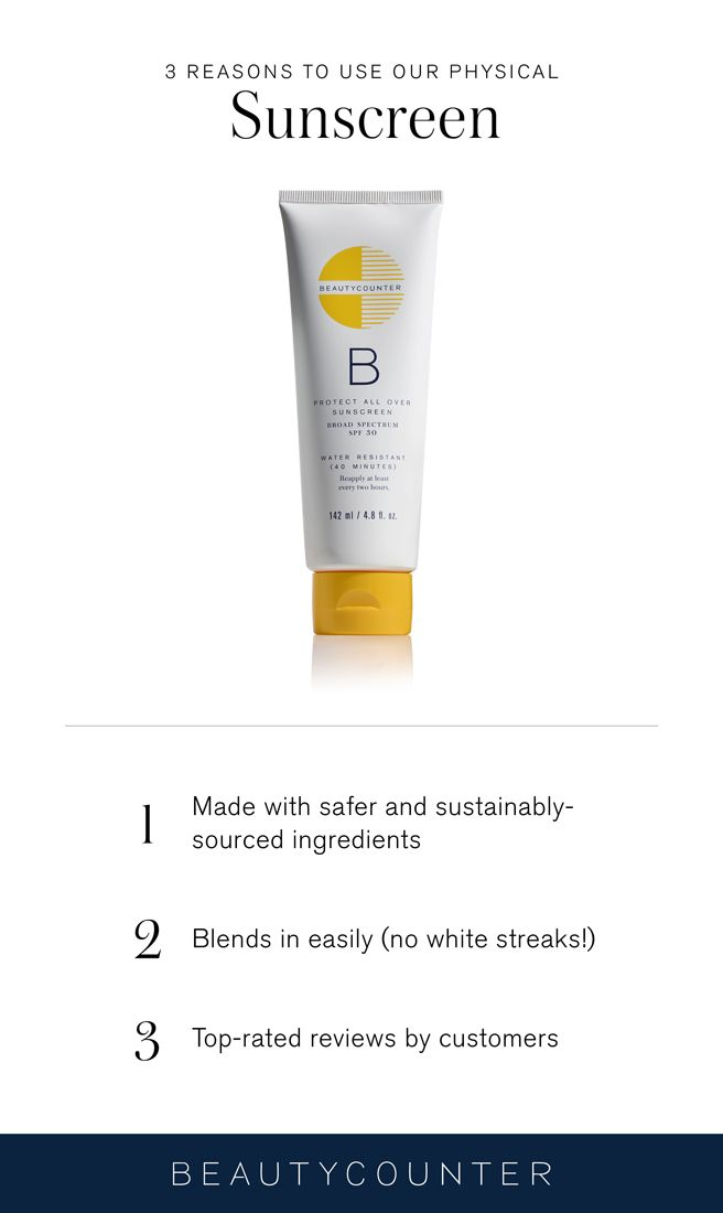 Physical sunscreen is just another term for mineral sunscreen. At Beautycounter, we use mineral non-nanoparticle zinc oxide as the sunblocker. Here's why. www.beautycounter.com/ashleymorgan1