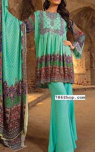 Turquoise Twill Linen Suit | Buy Zara Ali Pakistani Dresses and Clothing online in USA, UK