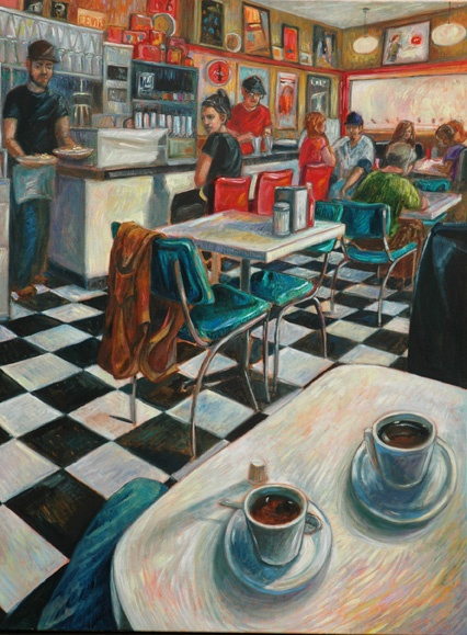 Prince Alberts Diner in London, Ontario as painted by artist Corinne Garlic. Available at Gift of Art in London, Ontario, Canada.