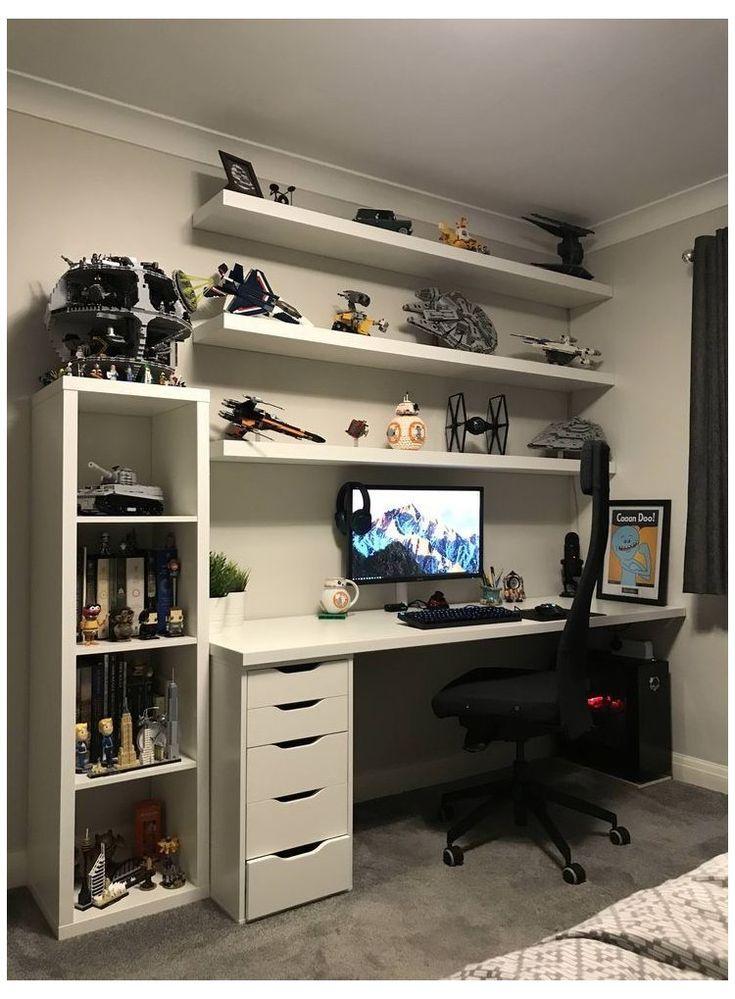 Gamer Bedroom, Bedroom Games, Bedroom Setup, Bedroom Desk, Boys Bedroom Decor, Teen Boy Bedrooms, Small Boys Bedrooms, Trendy Bedroom, Couple Bedroom