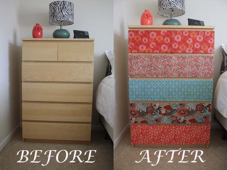 Before Old Plain Ikea Dresser After Mod Podge Fabric To