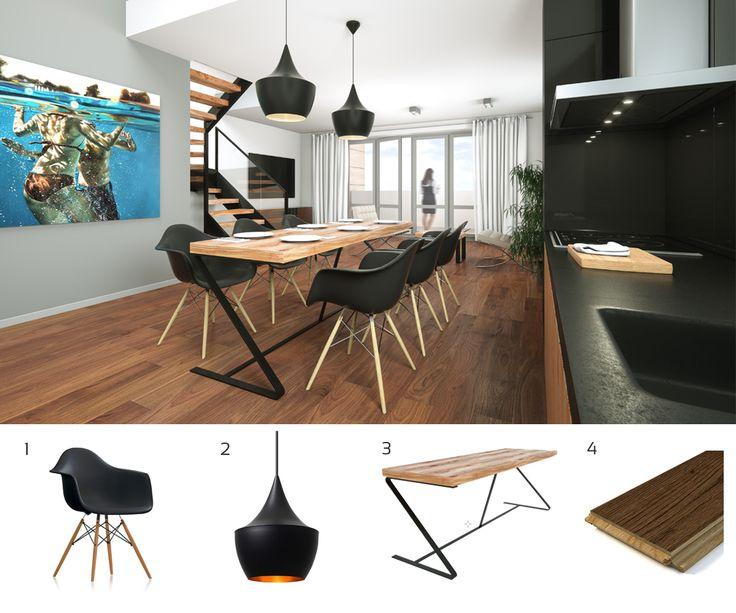Nowoczesny #apartament w centrum #Bydgoszczy? Nasza propozycja dla mieszkania na ul. Gołębiej 33.  1. Krzesło #Vitra 2. Lampa #TomDixon 3. Stół projektu Piotra Bartkowiaka, Architektonika 4. Deska Barlinecka, #Barlinek Drewno Forever  #arażacjawnętrz #aranzacja #wnetrza #wnętrza #wnętrze #architekturawnętrz #bydgoszcz #mieszkanie #dom #pomyslnamieszkanie