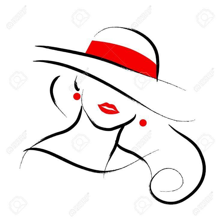 Vector Hand gezeichnete schöne Dame im Hutporträt, das auf weißem Hintergrund lokalisiert wird.