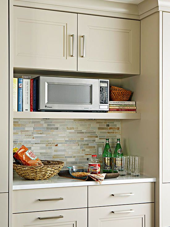 microwave + cookbook niche Shelf would need to be lower, + cabs on sides would have to come to counter