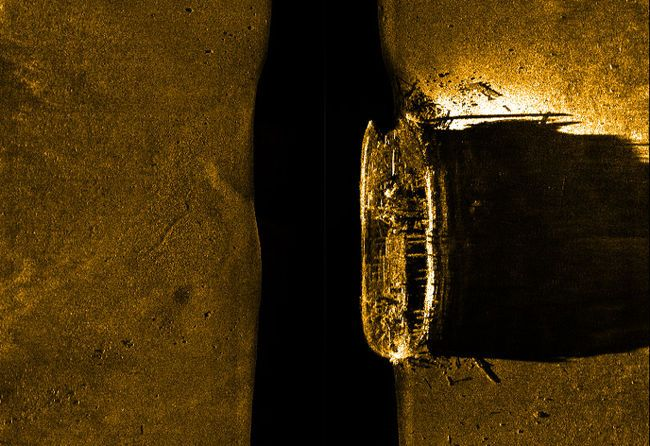 One of two ships from the Franklin Expedition, lost in the Arctic in 1846, is pictured in this underwater radar image. The find was confirmed Sunday using a Parks Canada remotely operated underwater vehicle during the Victoria Strait Expedition, though they are unsure if the ship is Her Majesty's Ship (HMS) Erebus or HMS Terror. Handout/Parks Canada/QMI Agency
